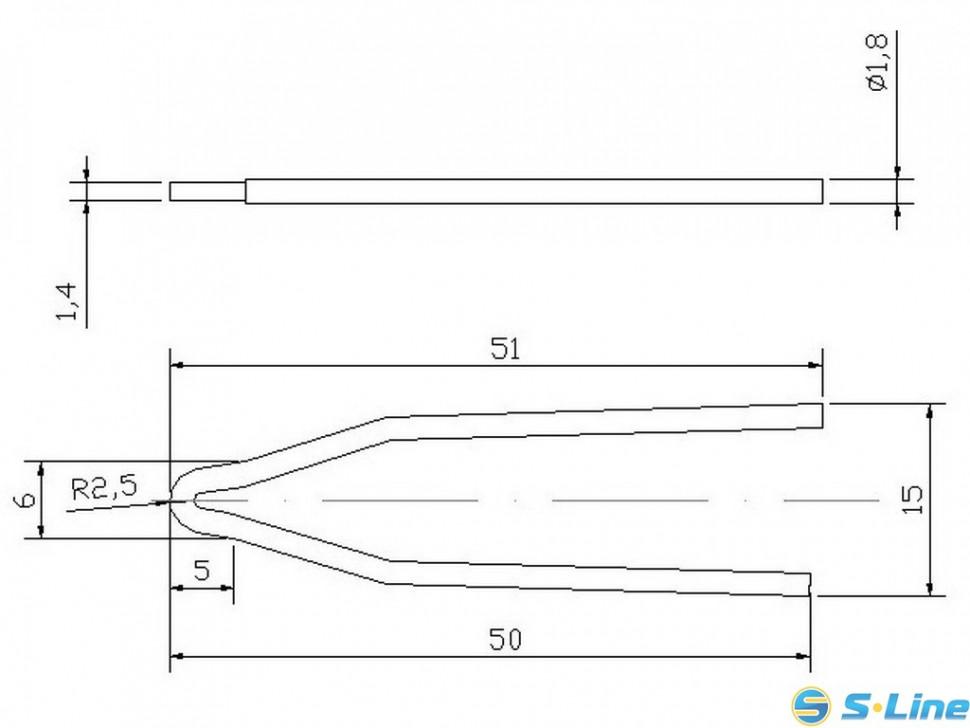 Жало сменное долговечное D2-1(для паяльника-пистолета импульсного ZD507)