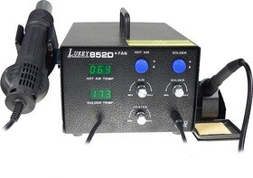 Паяльная станция LUKEY852D + FAN (цифровая), антистатическая, с феном