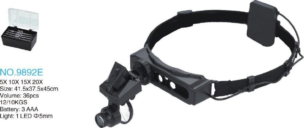 MG9892E Лупа головная+монокуляр с LED подсветкой (1.0х,1.5х,2.0х,2.5х,3.5х)/(5х,8х,20х)
